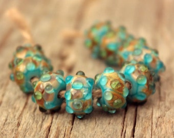 Turquoise Bumpies- 10 bumpy lampwork beads
