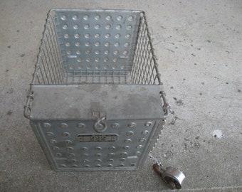 REDUCED - Vintage LYON gym locker room galvanized metal wire basket #222 w/Master Lock & Chain, Industrial Storage, Farmhouse Decor