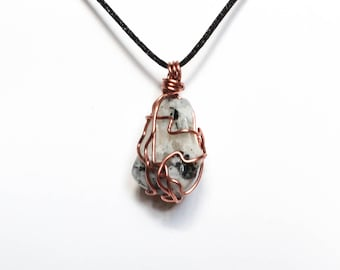 Moon Stone Copper Wrapped Pendant