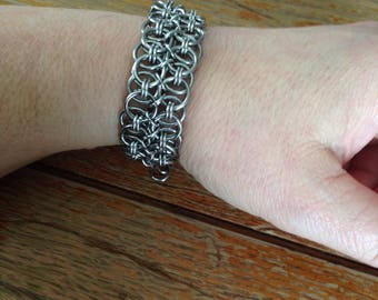 Stainless Steel Double Helm Chainmaille Bracelet, Chainmaille Jewelry