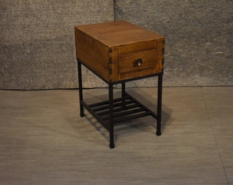 Rustic Modern Industrial Style Wood And Metal Living Room Chair Side Table  End Table Or Bedside