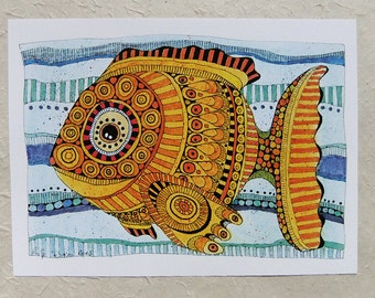 Digital print, yellow fish, DinA 4