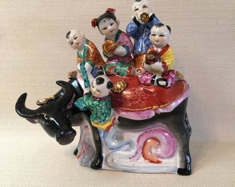 Vintage Chinese Asian Figure Children Playing Instruments Riding An Ox