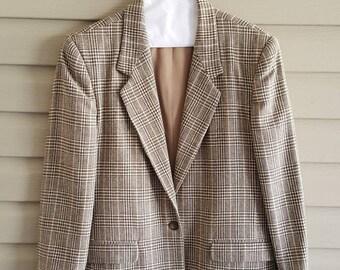 Vintage 80's Petite Sophisticate women's size 10 petite tan brown plaid fully lined wool button blazer jacket w/ pockets - 1980's