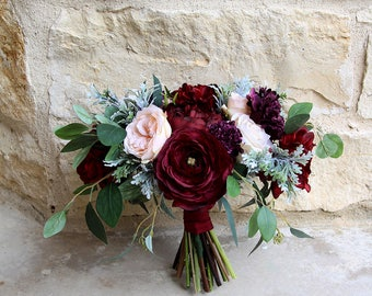Burgundy Bridal Bouquet | Moody Romantic Garden Style | Burgundy, Deep Purple and Light Peach | SG-1065