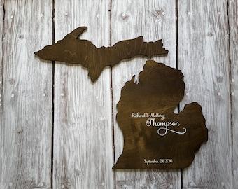Wedding Guest Book Alternative. State Guest Book. Wood Guest Book. Custom State Sign. State Sign. Wood State Cutout, Michigan