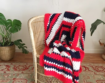 Vintage 70's Crochet Afghan Throw Blanket