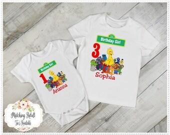 Girls Sesame Street Birthday Tee; Girls 1st Birthday and Up, Girls Sesame Street Birthday T-Shirt or Birthday bodysuit; FREE Personalization