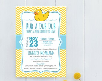 Baby Shower Invite |  Rub A Dub Dub theme, Rubber Duck party, Boy, Girl or Gender Neutral, WE or YOU Print, 5X7, Printable, Welcome new baby