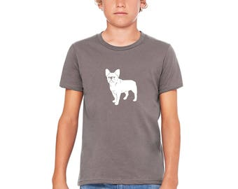 Children's French Bulldog Shirt, Frenchie Shirts For Kids, Soft Cotton Crewneck Youth Tshirt, Dog Lover Shirt, Family Pet Graphic Tee Shirt