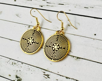 Labyrinth Earrings, Labyrinth Jewellery-Antique Gold Round Dangle Drop Earrings, Gold Labyrinth Earrings, Gold Earrings, Metal Jewellery