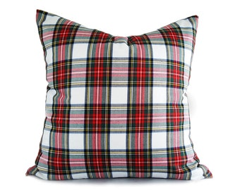 White Red Plaid Pillows, Christmas Pillow Cover, White Tartan Pillows, Dress Stewart Plaid Cushions, Lumbar 10x16, 16, 18, 20, 22, 26