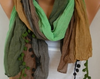 Green&Brown Tones Pompom Ombre Scarf Summer Shawl,Bohemian,Birthday Gift,Beach Wrap, Cowl Scarf Gift Ideas For Her Women Fashion Accessories