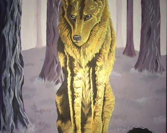 Spirit Wolf--Acrylic on Canvas