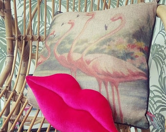 Big handmade hot lips pillow / cushion. Home decor. Pink - fuschia velvet.