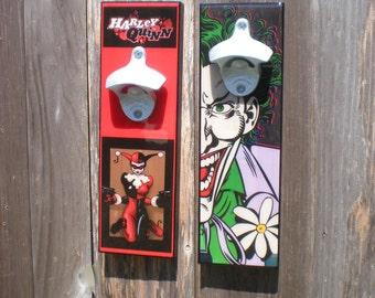 Cool Harley Quinn bottle opener - beer bottle opener, Super Hero opener- The Joker