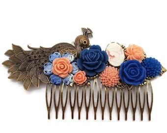 Peacock Hair Comb-Wedding Hair Comb-Bridal Hair Comb-Cluster Comb-Floral Hair Comb-Peacock Hair Clip-Bird Hair Comb-Royal Blue-Peach Flowers