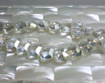 17pcs 12mm Chinese Crystal Clear with AB Faceted Glass Beads Jewelry Jewellery Craft Supplies