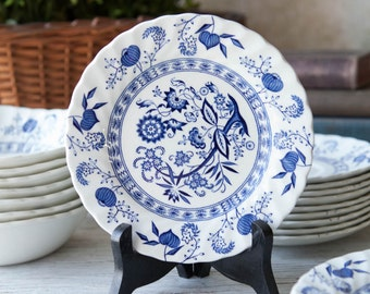 "Blue Nordic Bread and Butter Plate 6 1/4"" Johnson Brothers Ironstone Made in England, Blue and White Transferware, Hand Engraved,"