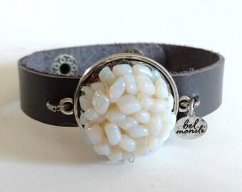 White Bracelet, Leather Bracelet, Snap Bracelet, Leather Cuff, Cuff Bracelet, Opal Bracelet, Recycled Bracelet, Upcycled Jewelry, Wholesale