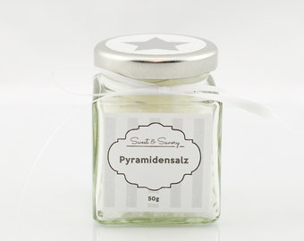 Pyramid salt white cooking for him and her ideal as gift to grill gourmet salt, Fleur de Sel, finger salt, salt, 50 g