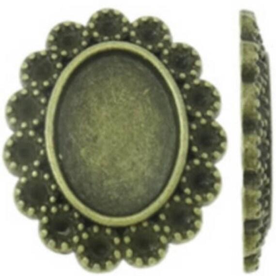 Support Cabochon retro 10 x 14 mm color bronze