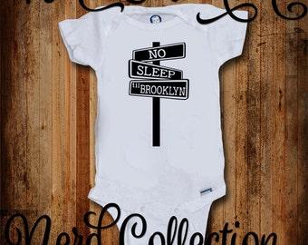 Baby Onesie No Sleep Til Brooklyn Hip Hop 90s Baby Rap Hipster Baby Shower Gift Nursery Funny Humerious Custom Baby Clothing Gerber