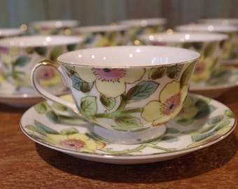 Tea Cups & Saucers Vintage Paulux Tea Cups Saucers Made In Occupied Japan Hand Painted Pink And Yellow Flowers Set Of Ten Tea Party