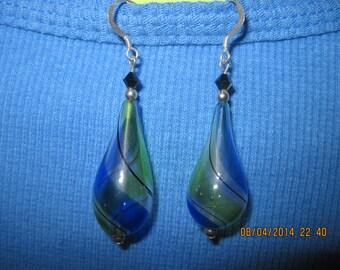 Handmade Silver & Swarvoski Crystal w/ Blue/Green Swirl/Stripe Lampwork HandBlown Drop Dangle Earrings..6784h...Summer Wear,Beach Wear
