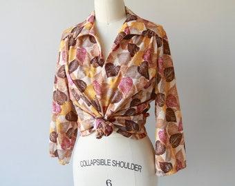 1970s Fallen Leaves Print Blouse / Vintage 70s Novelty Print Leaf Shirt / Medium / Large