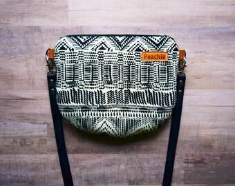 Tribal crossbody bag, aztec crossbody purse, small crossbody bag, black and white bag, simple crossbody, ethnic bag,tribal bag