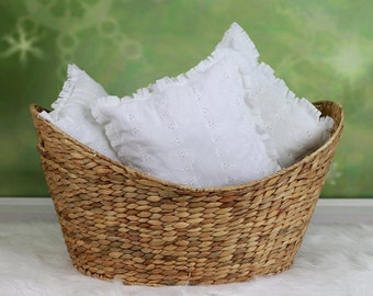 Shabby Pillow Photo Prop White Eyelet