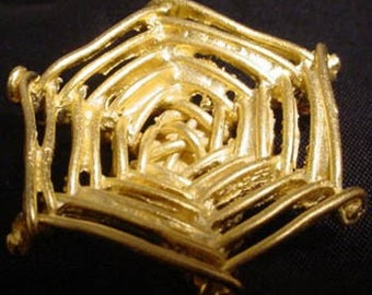 Hand Sculpted Gold Tone Cast Metal Spider Web Brooch Pin