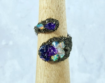 Amethyst and Opal Ring ~ Raw Amethyst Ring ~ Raw Opal Ring ~ Amethyst Opal Ring ~ Raw Gemstone Ring ~ Purple Crystal Ring ~ Gift For Her