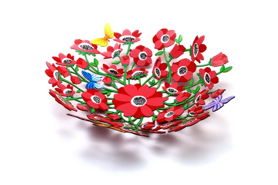 Red pink anemone flower fruit bowl 3d effect multicolormetal mightylinksfo