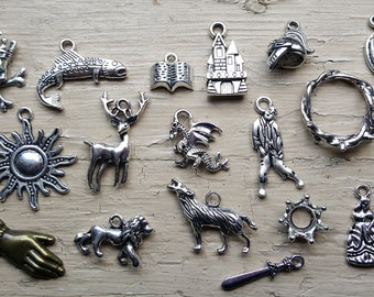 Game of Thrones Charm Set 22 Piece Tibetan Style Silver