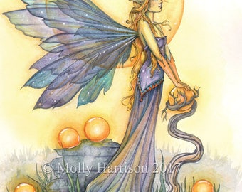 Golden - Original Watercolor and Mixed Media Painting by Molly Harrison - Mystical Fairy Fantasy Art