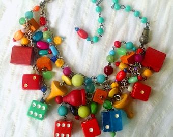 ONE OF A KIND Bright and Colorful Multi-strand Bib Necklace made from Upcycled Vintage Game pieces: Dice, Clue, Monopoly, Parcheesi