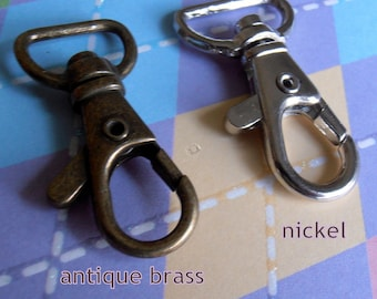 40 Pieces Lobster Swivel Clasps - 1.5 inch long / 0.5 inch webbing capable (CHOOSE YOUR FINISH: nickel and antique brass finish)