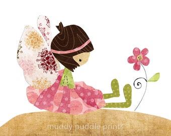 Pink fairy Nursery decor, instant download printable art, fairy decor, girl room art, digital print 8x10 11x14 - Fairy print