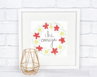 Chi Omega Floral Wreath Square Downloadable Instant Print | Red and Yellow