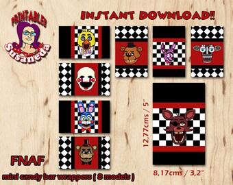 FNAF  mini candy bar wrappers / FNAF Party Decoration / FNAF Party Printables  / 5 Nights at Freddys Instant Download!!