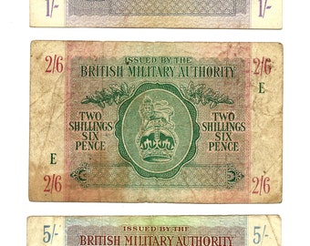 North Africa British Military Authority 1943 Notes 1, 2 1/2, 5 Shillings
