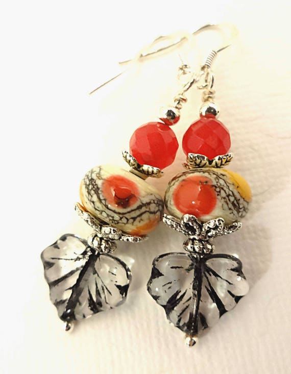 Artisan Lampwork Earrings in Red, Black and Orange