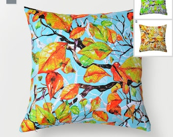 SALE Falling leaves pillowcase by original design, watercolor cushion cover, blue, apple green and golden pillow 18x18' app.(44x44 cm)