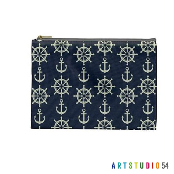 """Anchor Sailor on a Pouch, Make Up, Cosmetic Case Travel Bag Pencil Case - 9"""" X 6"""" -  Large -  Made by artstudio54"""