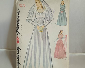 Vintage 1940s Uncut Wedding Gown Sewing Pattern Size 12