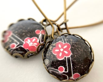 Antiqued brass earrings - Red Flower at Night - Long Dangle