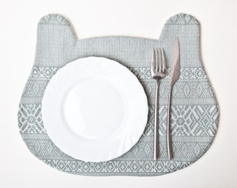 Blue Placemat, Housewarming Gifts, Bear Placemat, Blue Kitchen Accessory, Grandma Gift, Tribal Home Decor, Tribal Placemat for Kids