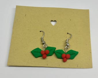 Holly Berry Earrings- Polymer Clay